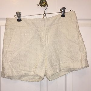 High waisted, patterned white shorts